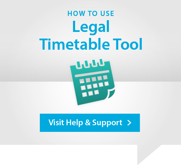 Legal Timetable Help and Support Advert