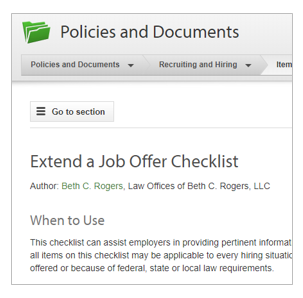Extend a Job Offer Checklist