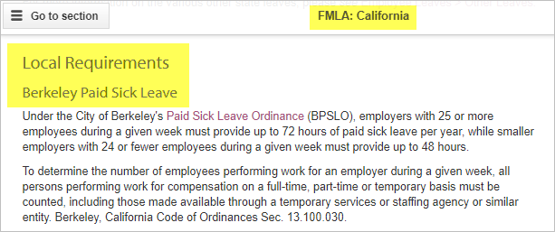 FMLA Local requirements